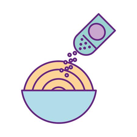 おいしいスパゲッティ塩ベクトル イラスト デザイン  イラスト・ベクター素材