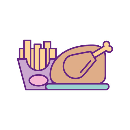 delicious chicken with soda and french fries vector illustration design