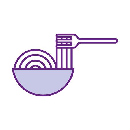 Gabel mit Delicious Spaghetti isoliert Symbol Vektor-Illustration Design Standard-Bild - 83368539