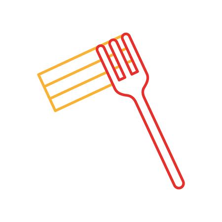 Forchetta con deliziosi spaghetti isolato icona illustrazione vettoriale di progettazione Archivio Fotografico - 83367014