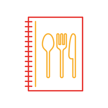 recipe book with cutlery kitchen vector illustration design
