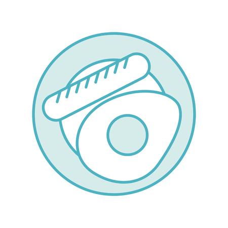 Worst met gebakken ei vector illustratie ontwerp Stockfoto - 83367071