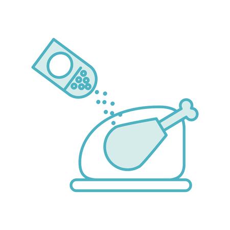 delicious chicken with salt vector illustration design