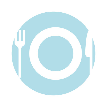 flatwares: dish with cutlery kitchen vector illustration design