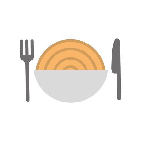 Besteck mit Delicious Spaghetti isoliert Symbol Vektor-Illustration Design Standard-Bild - 83367693