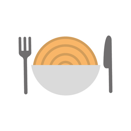 cutlery with Delicious spaghetti isolated icon vector illustration design