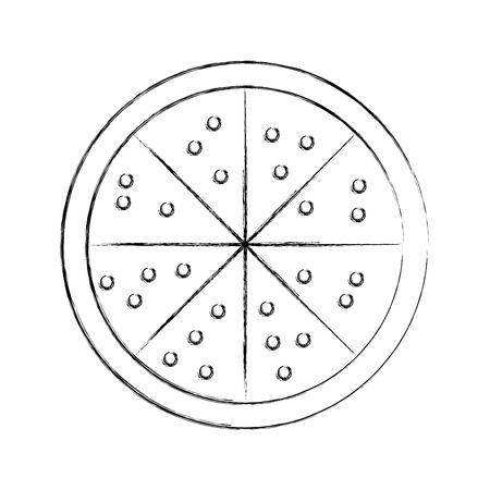 おいしいピザ分離アイコン ベクトル イラスト デザイン
