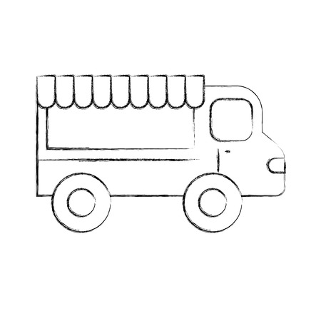 ingestion: fast food shop car vector illustration design