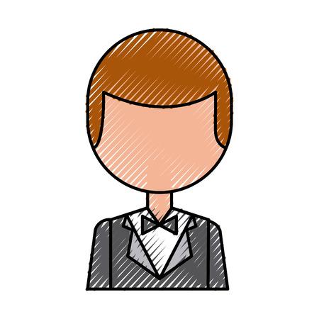 Hombre elegante con diseño de ilustración vectorial bowntie Foto de archivo - 83368063