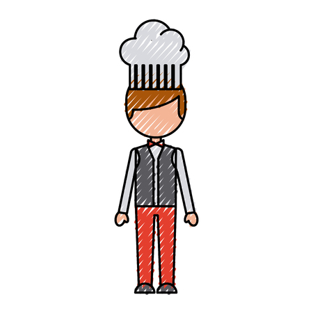 work clothes: hotel chef avatar character vector illustration design