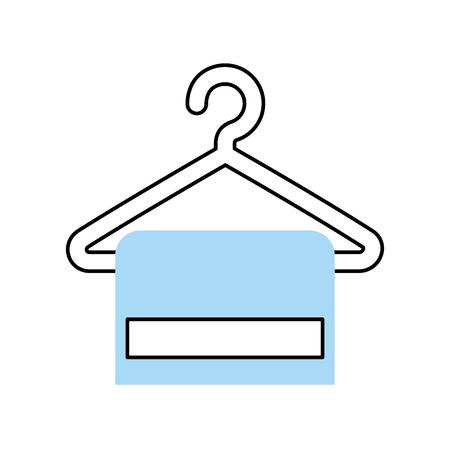 towel hangin in wire hook vector illustration design