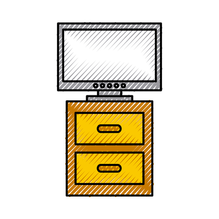 nightstand with tv plasma isolated icon vector illustration design 向量圖像