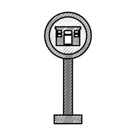 hotel traffic sign isolated icon vector illustration design Banco de Imagens - 83368628