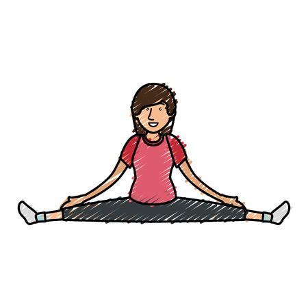 Woman practicing exercise character vector illustration design Illustration