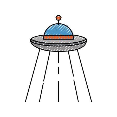 ufo flying isolated icon vector illustration design