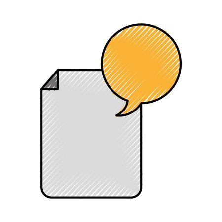 paper document with speech bubble vector illustration design