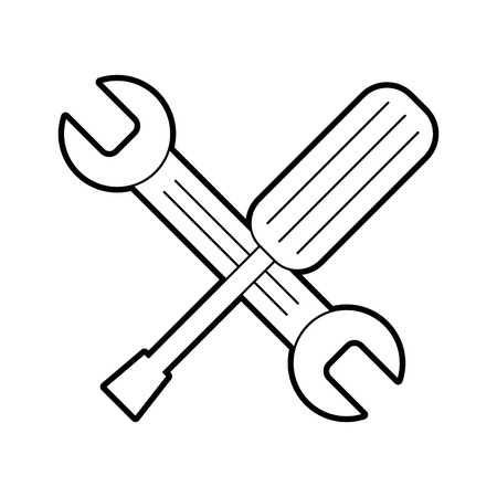 wrench and screwdriver isolated icon vector illustration design Stock Vector - 83621842