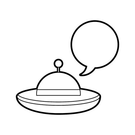 ufo flying with speech bubble vector illustration design Illustration