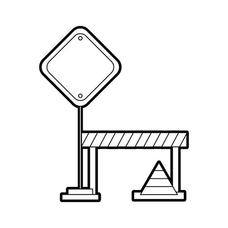 traffic fence with cones vector illustration design Illustration
