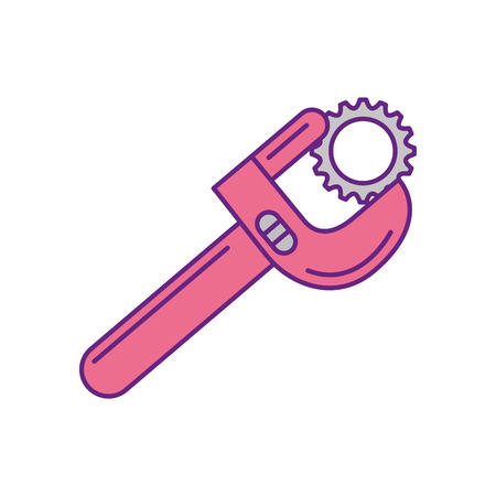 wrench tool with nut vector illustration design