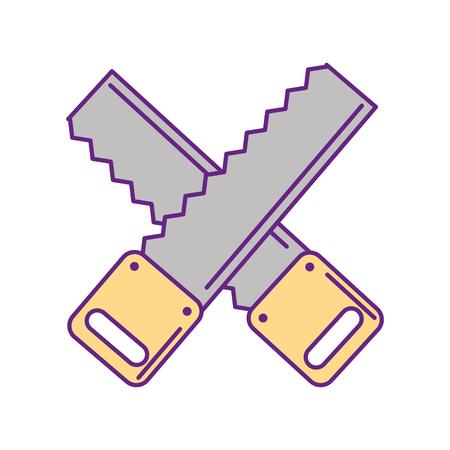 Cruz de carpintería vio icono aislado diseño de ilustración vectorial Foto de archivo - 83621948