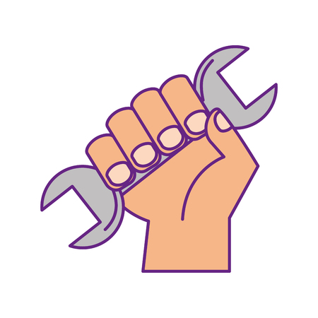 hand human with wrench tool vector illustration design
