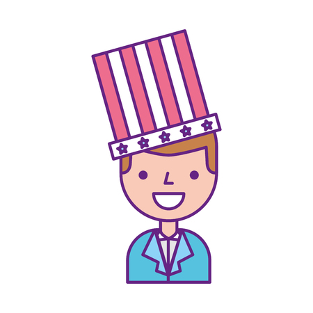 businessman with american hat isolated icon vector illustration design Stock Vector - 83621975