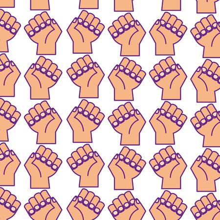 인간의 주먹 패턴 배경 벡터 일러스트 디자인 손