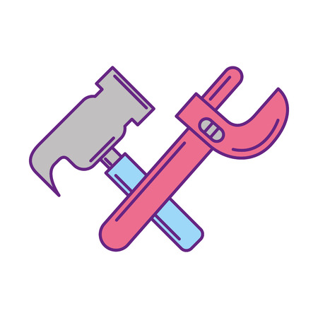 power wrench: hammer and wrench tools vector illustration design