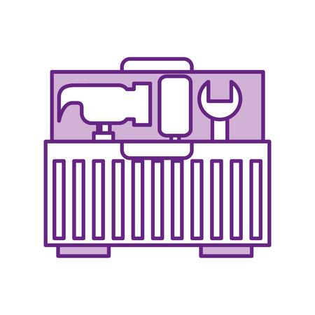 Werkzeugkasten mit Werkzeugen Vektor-Illustration Design Standard-Bild - 83623104