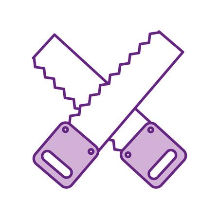 cross houtbewerking zag geïsoleerde pictogram vector illustratie ontwerp Stock Illustratie