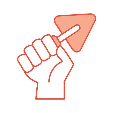 hand human with spatula of construction icon vector illustration design Ilustração
