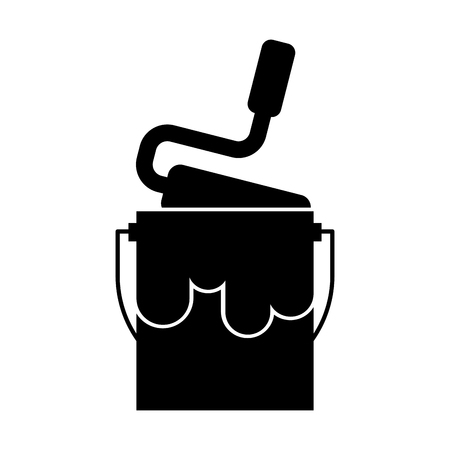 paint pot with roller vector illustration design