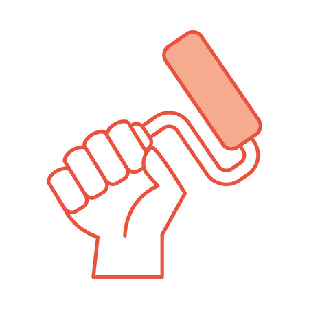 hand human with paint roller isolated icon vector illustration design