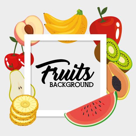 fresh organic fruit concept vector illustration graphic design Ilustração