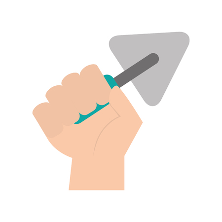 hand human with spatula of construction icon vector illustration design Ilustrace