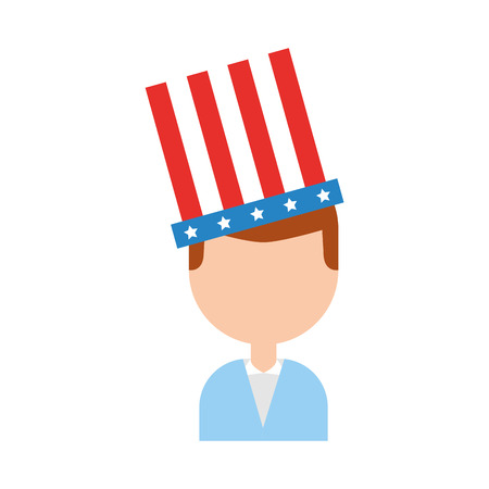 businessman with american hat isolated icon vector illustration design Illustration