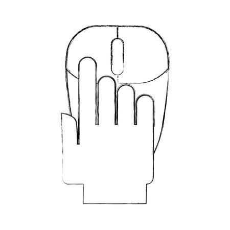 hand human with computer mouse vector illustration design Ilustração
