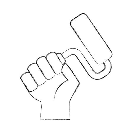 Main humaine avec rouleau de peinture isolé icône du design vecteur illustration Banque d'images - 83622835