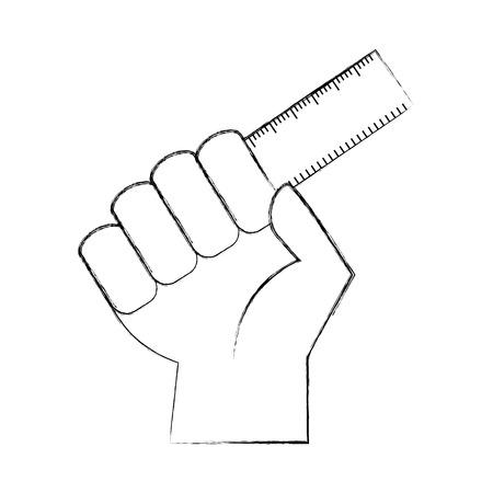 hand human with rule school vector illustration design