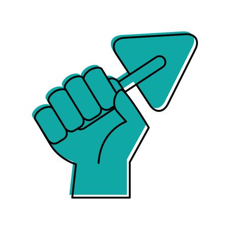 hand human with spatula of construction icon vector illustration design Illustration