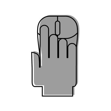 コンピューター マウス ベクトル イラスト デザインと人間の手
