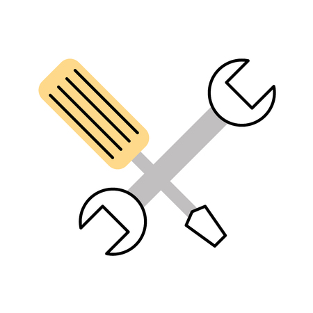 power wrench: wrench and screwdriver isolated icon vector illustration design