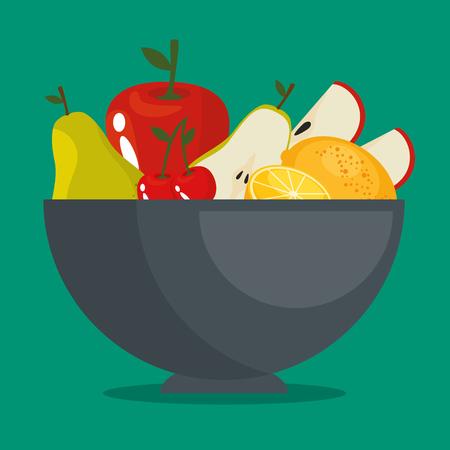 fresh organic fruit concept vector illustration graphic design Illustration