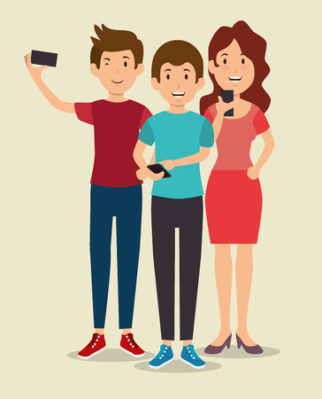 smartphone addiction concept modern lifestyle vector illustration graphic design