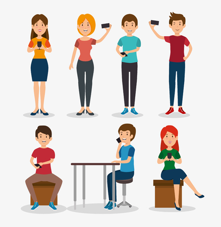 smartphone addiction concept modern lifestyle vector illustration graphic design