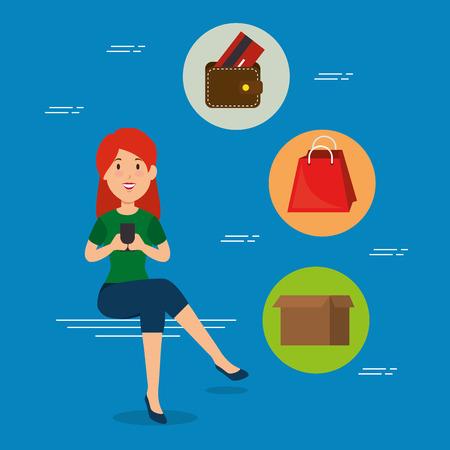 online shopping e-commerce concept vector illustration graphic design