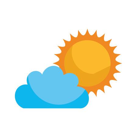 Beautiful fantasy cloud with sun vector illustration design Illustration