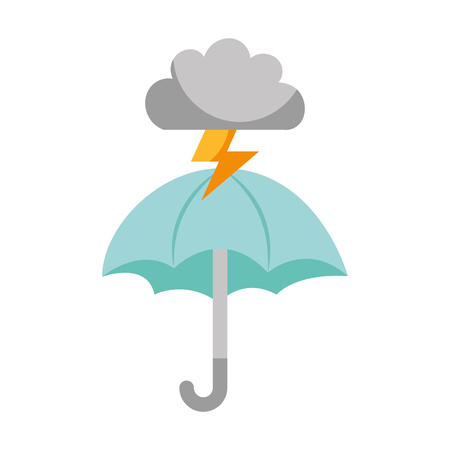 Beautiful fantasy cloud with ray storm electric and umbrella vector illustration design