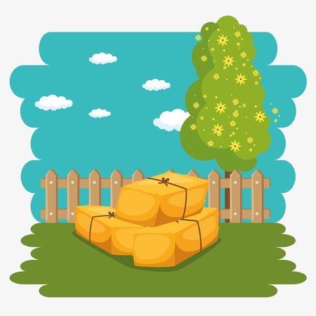 farming and agriculture hay bales vector illustration graphic design